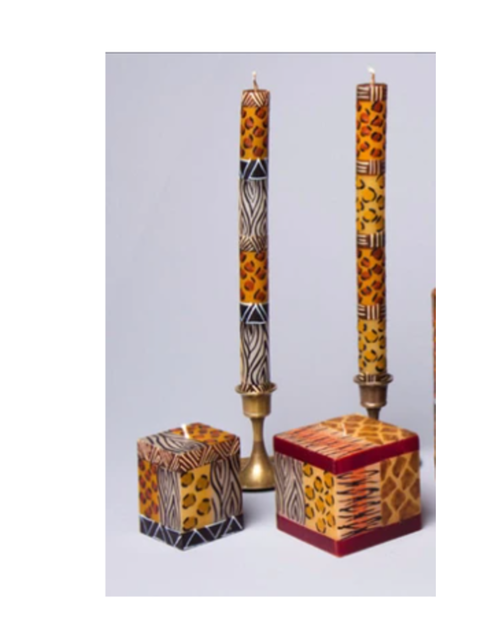 "South Africa, Pair Taper Candles 9"" Animal Print"