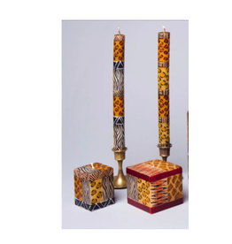 """Animal Print, Pair Taper Candles 9"""", South Africa"""