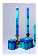 "South Africa, Pair Taper Candles 9"" Blue and Green"