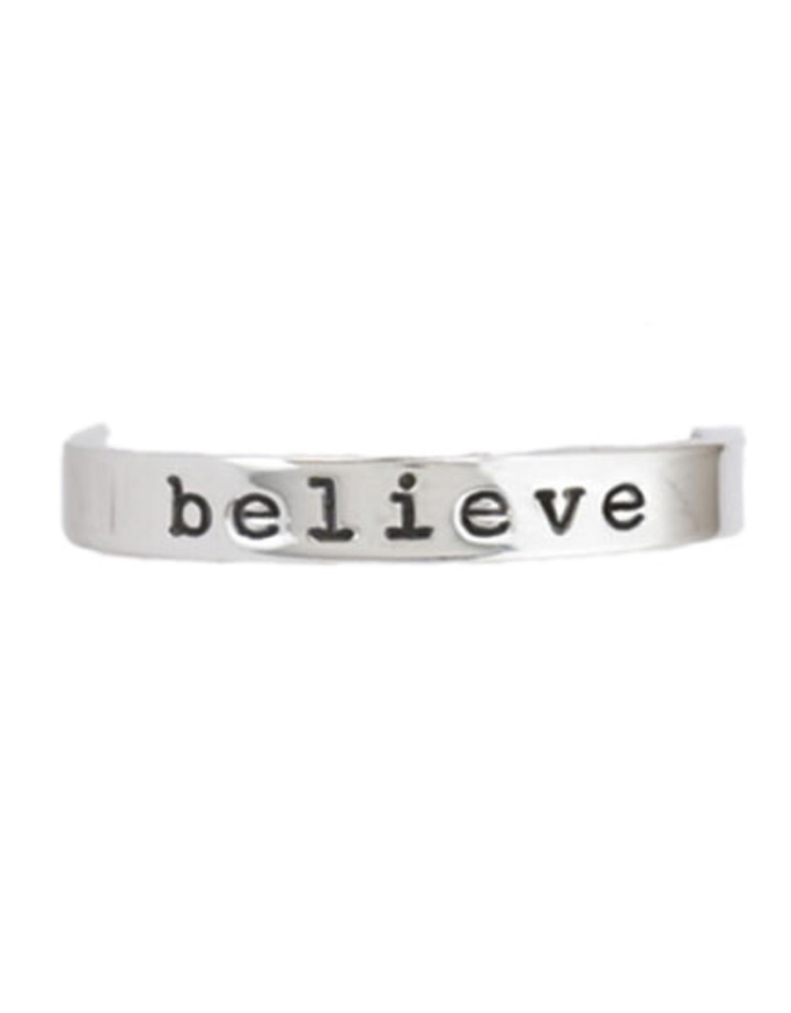 Sterling Silver Believe Ring