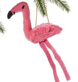 Kyrgyzstan, Felt Fickle Flamingo Ornament