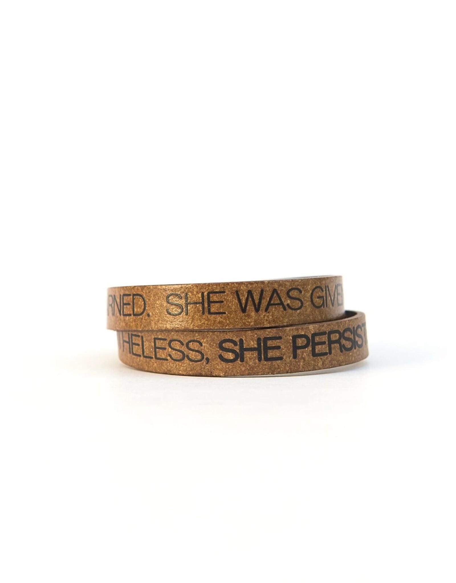 Leather Enscribed Wrap Bracelet She Persisted