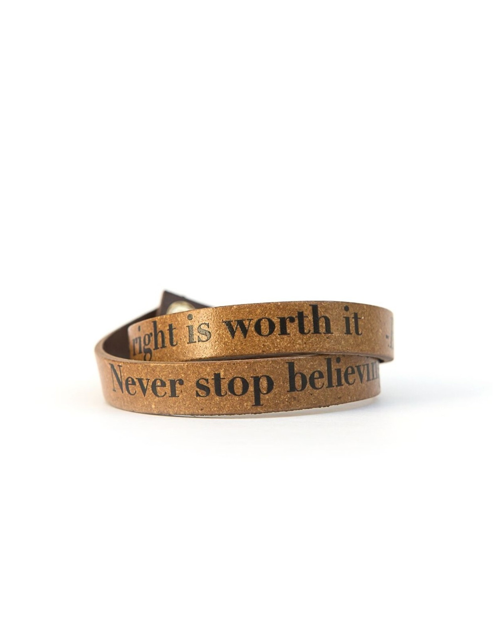 Leather Enscribed Wrap Bracelet Fight for What's Right