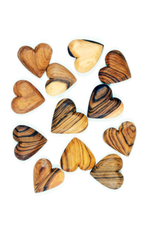 Flat Olive Wood Hearts, Mozambique