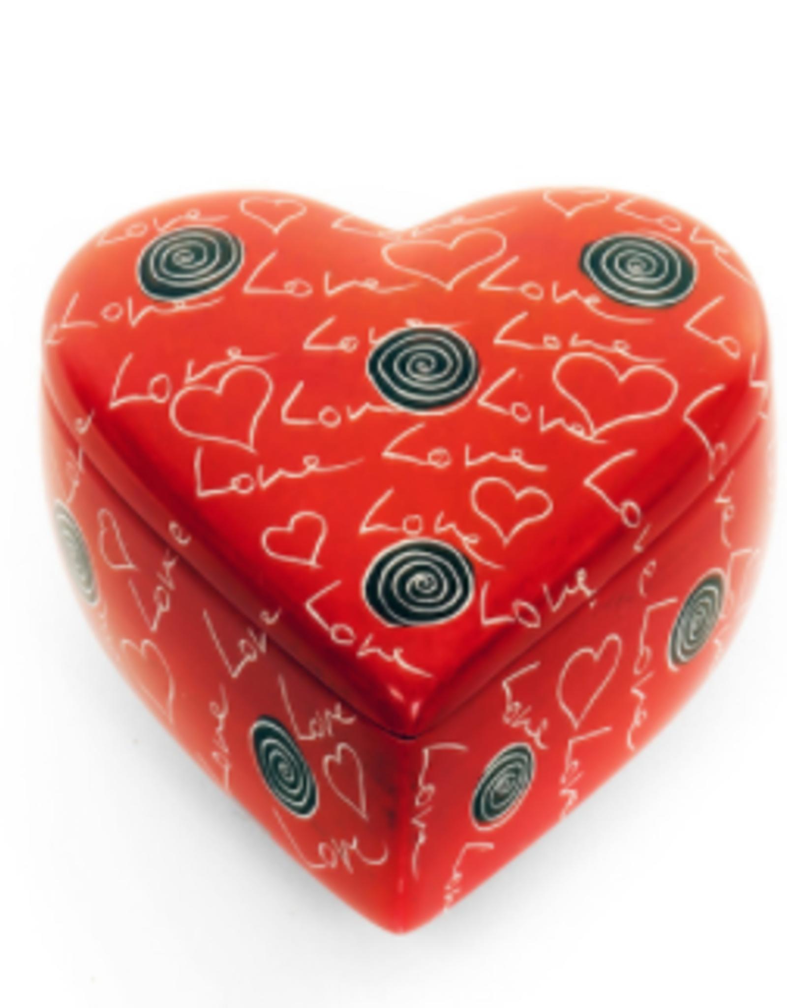 Kenya, Love Soapstone Heart Box
