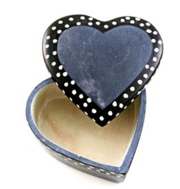 Kenya, Gray Dot Line Heart Box