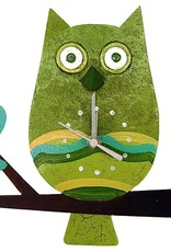Silly Clocks Owl on Branch, Green, Colombia