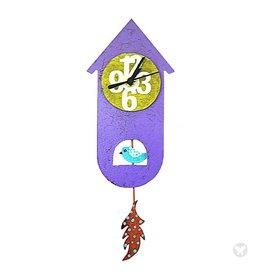 Silly Clocks Thin Bird House, Purple, Columbia