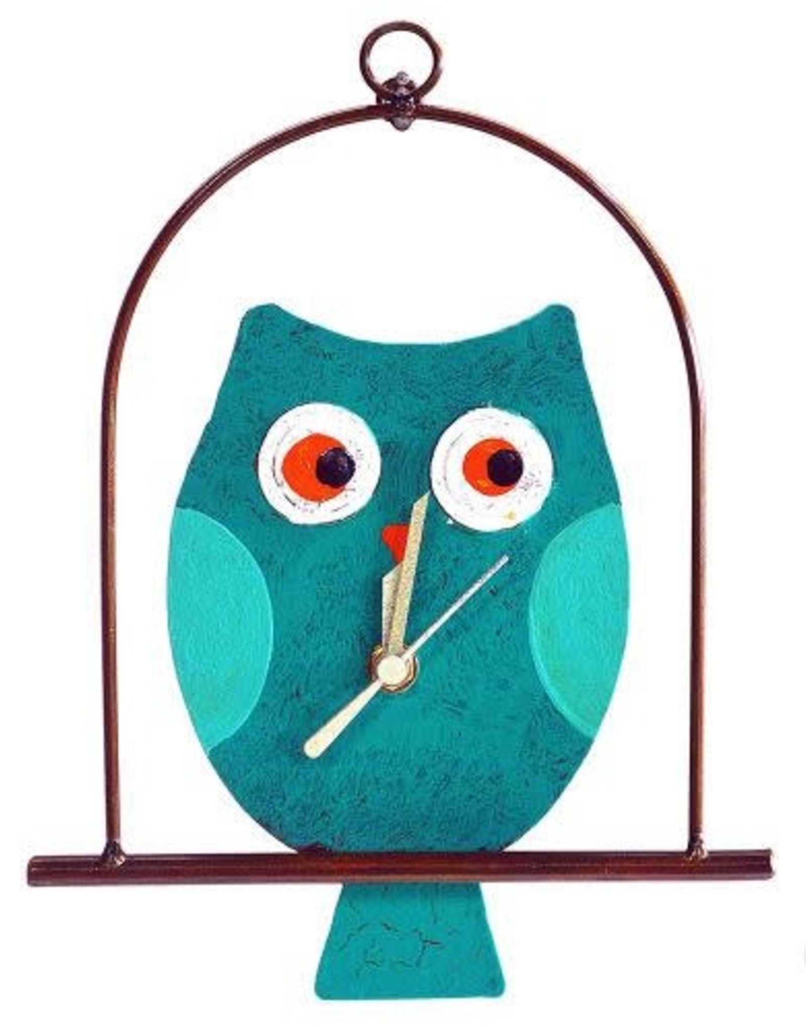 Silly Clocks Owl in a Cage, Teal, Colombia