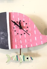 Silly Clocks Whale w/ Fish, Pink, Colombia