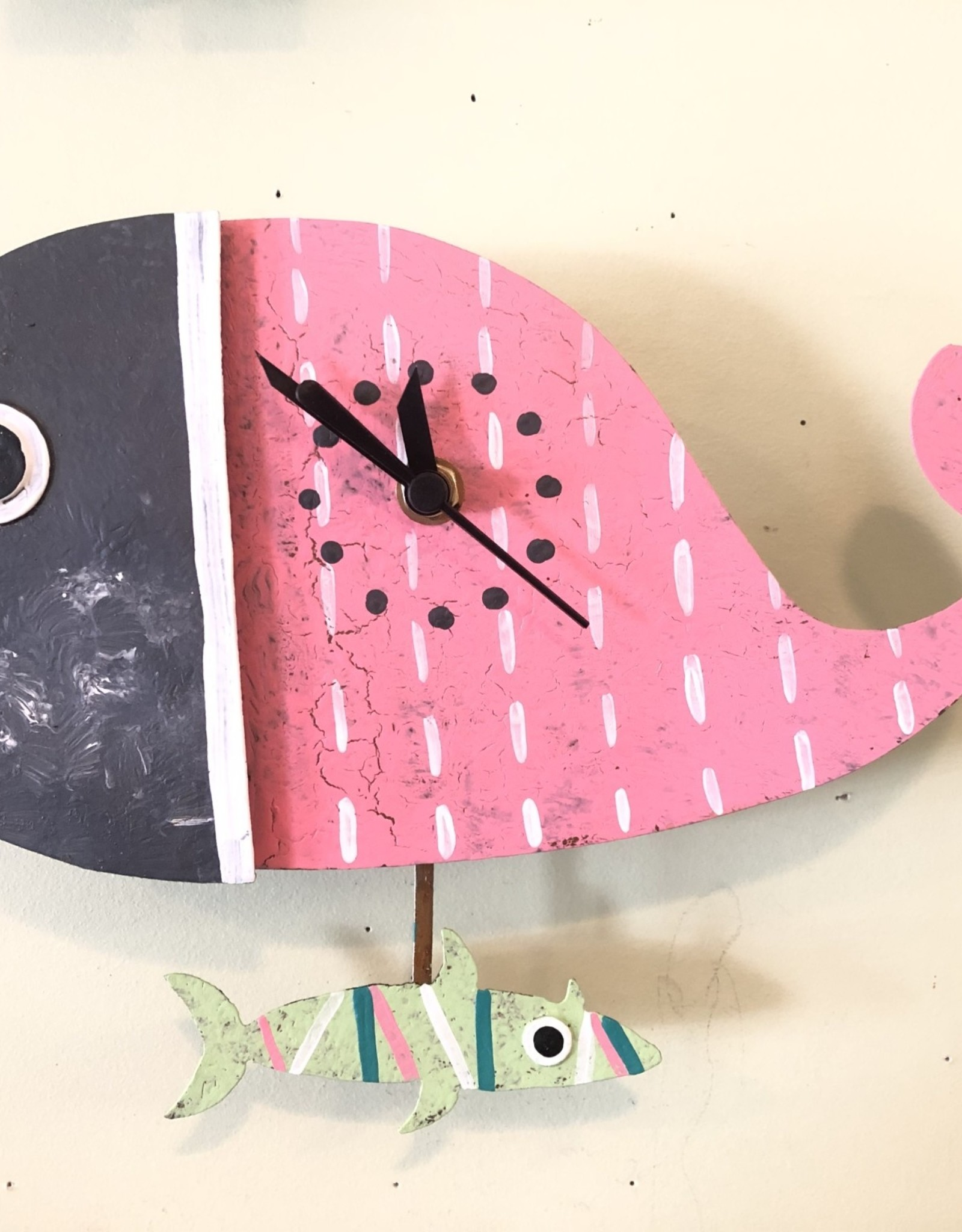 Colombia, Silly Clocks Pink Whale w/ Fish