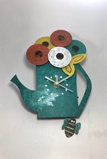 Silly Clocks Tea Pot with Flowers, Teal, Colombia