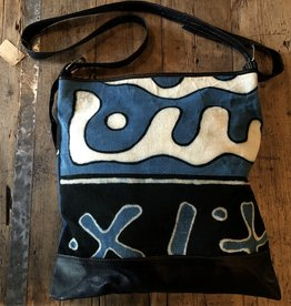 Bogolan Leather Bag, Blue, Mali
