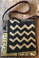 Bogolan Leather Bag, Black/Beige, Front Flap, Mali