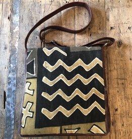 Bogolan Leather Bag, Black/Beige, Front Flap