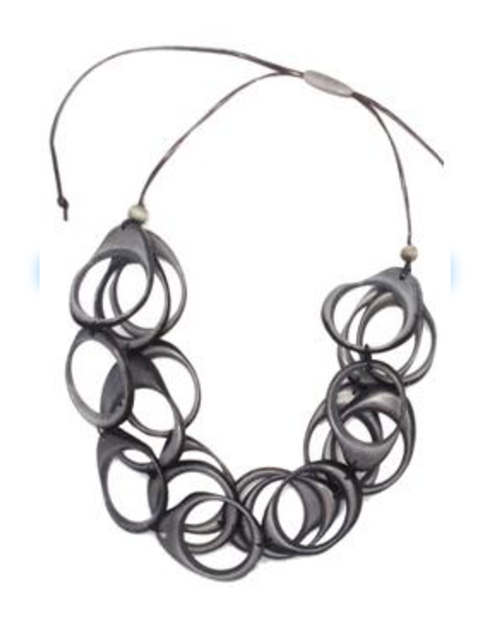 Multi Layer Tagua  Ring Necklace, Gray