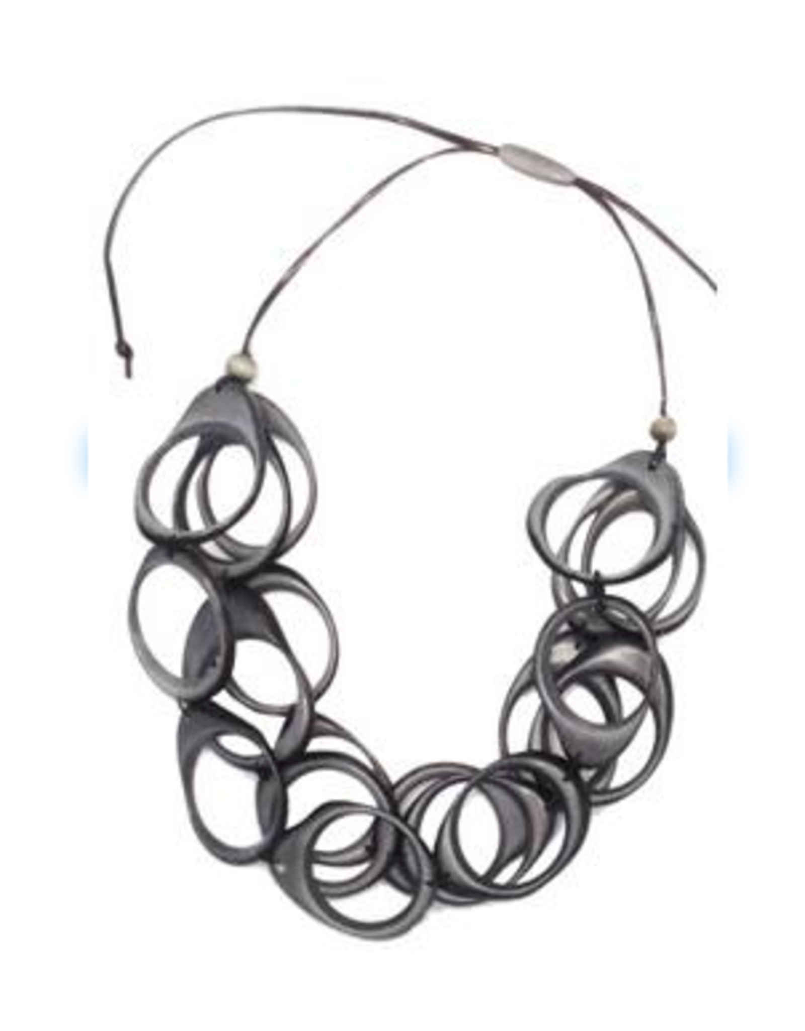 Multi Layer Tagua  Ring Necklace, Gray, Ecuador