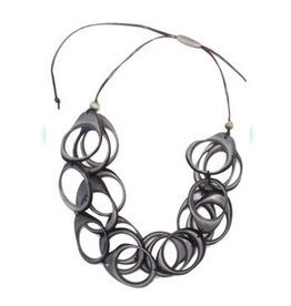 Multi Layer Tagua  Ring Necklace, Gray, Ecuador
