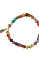 Tasseled Kantha Bead Bracelet