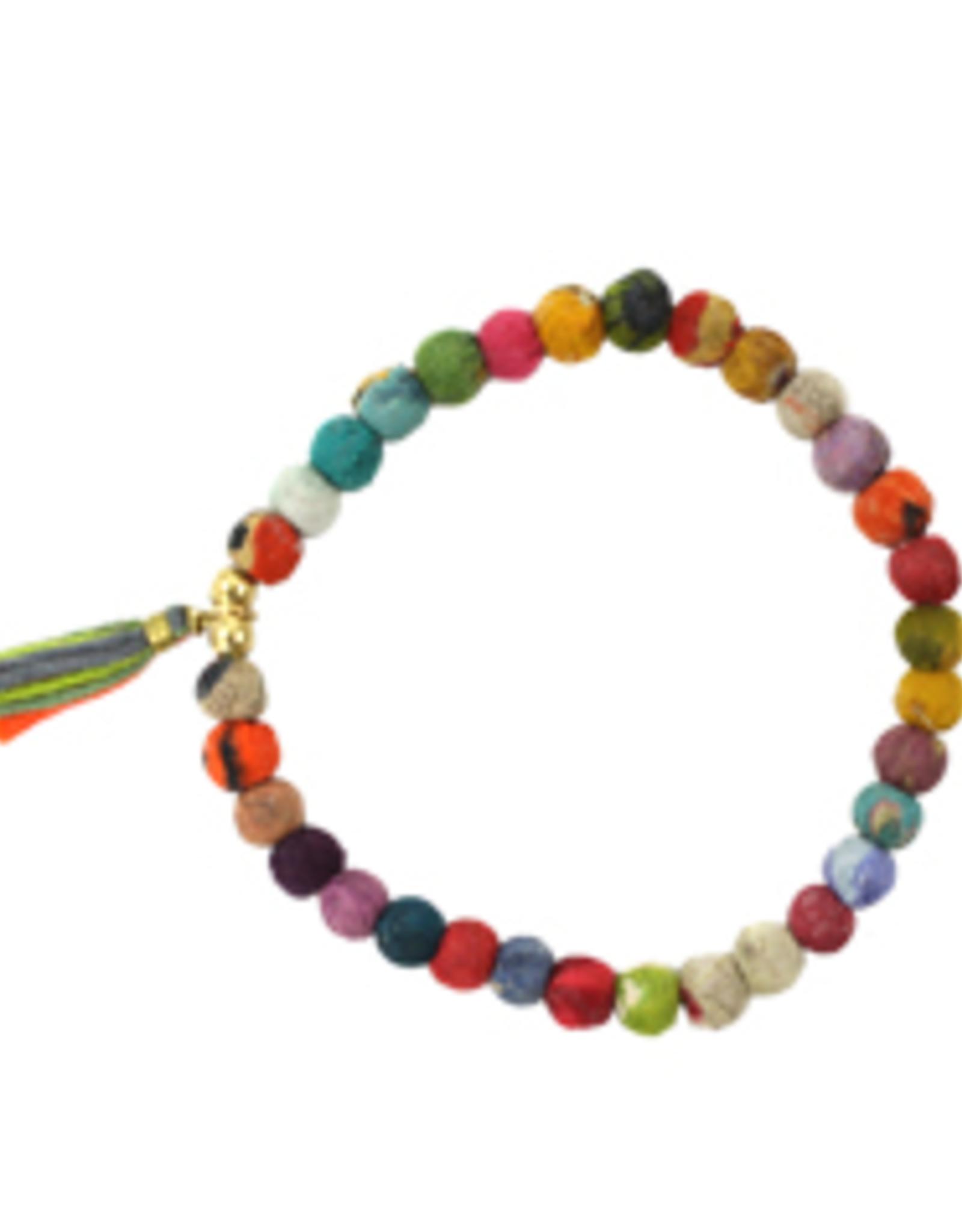 India, Tasseled Kantha Bead Bracelet