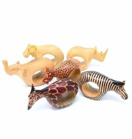 Animal Napkin Rings, Set of 6, Kenya