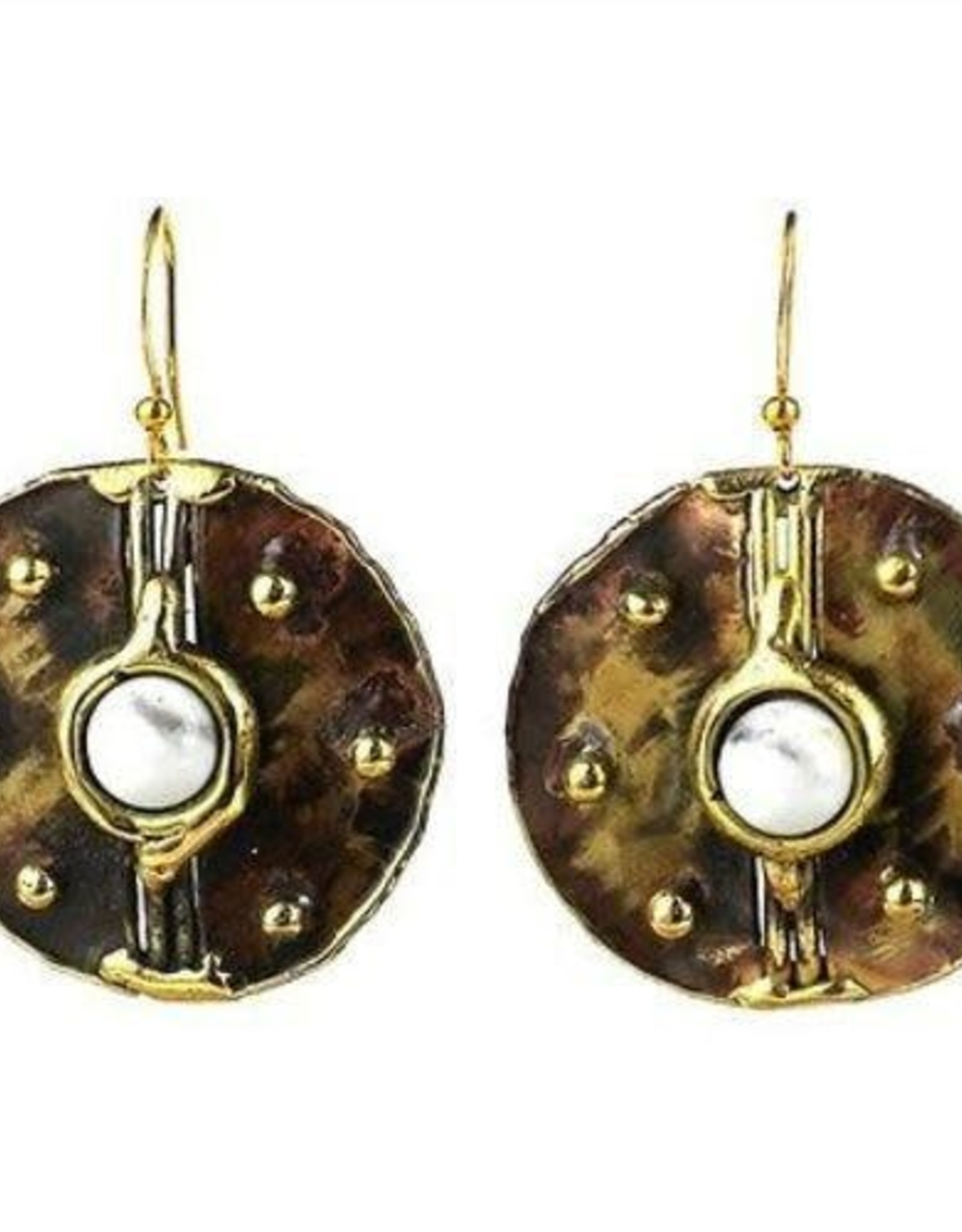 Howlite and Brass Earrings
