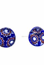 Glass Stud Earrings, Blue Flower