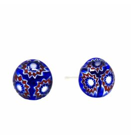 Glass Stud Earrings, Blue Flower