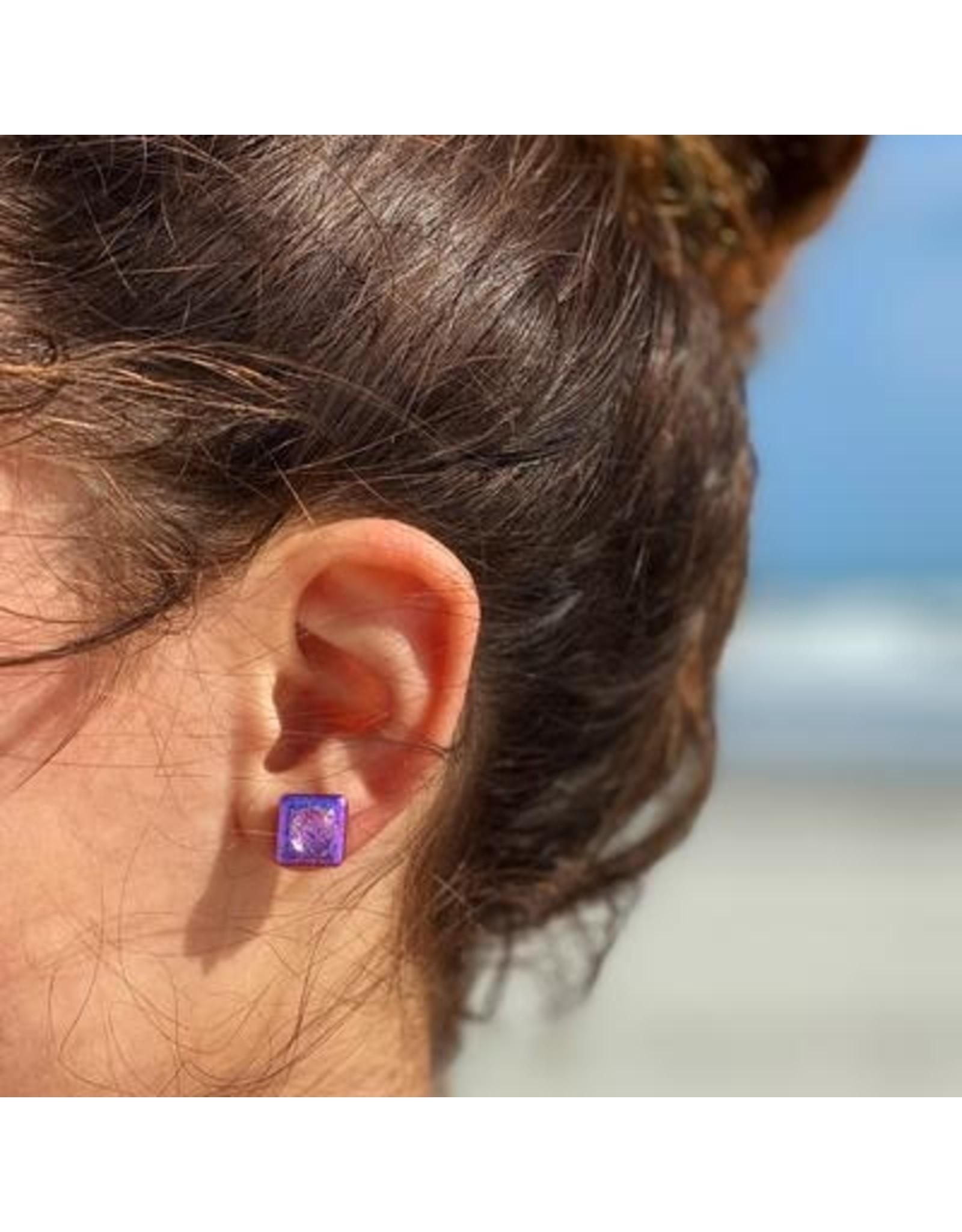 Glass Stud Earrings, Fuschia