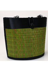 Petite Curved Avi Basket Bag Green/Brown, Cambodia
