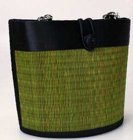 Cambodia, Petite Curved Avi Basket Bag Green/Brown