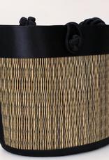 Cambodia, Petite Curved Avi Basket Bag Black Striated