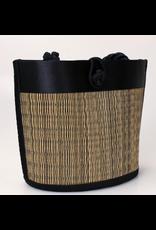 Petite Curved Avi Basket Bag Black Striated, Cambodia