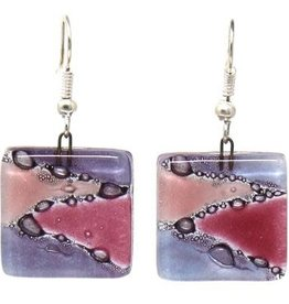 Square Glass Dangle Earrings, Purple