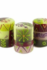 Handpainted Votive  Candles, Set of 3, Kileo