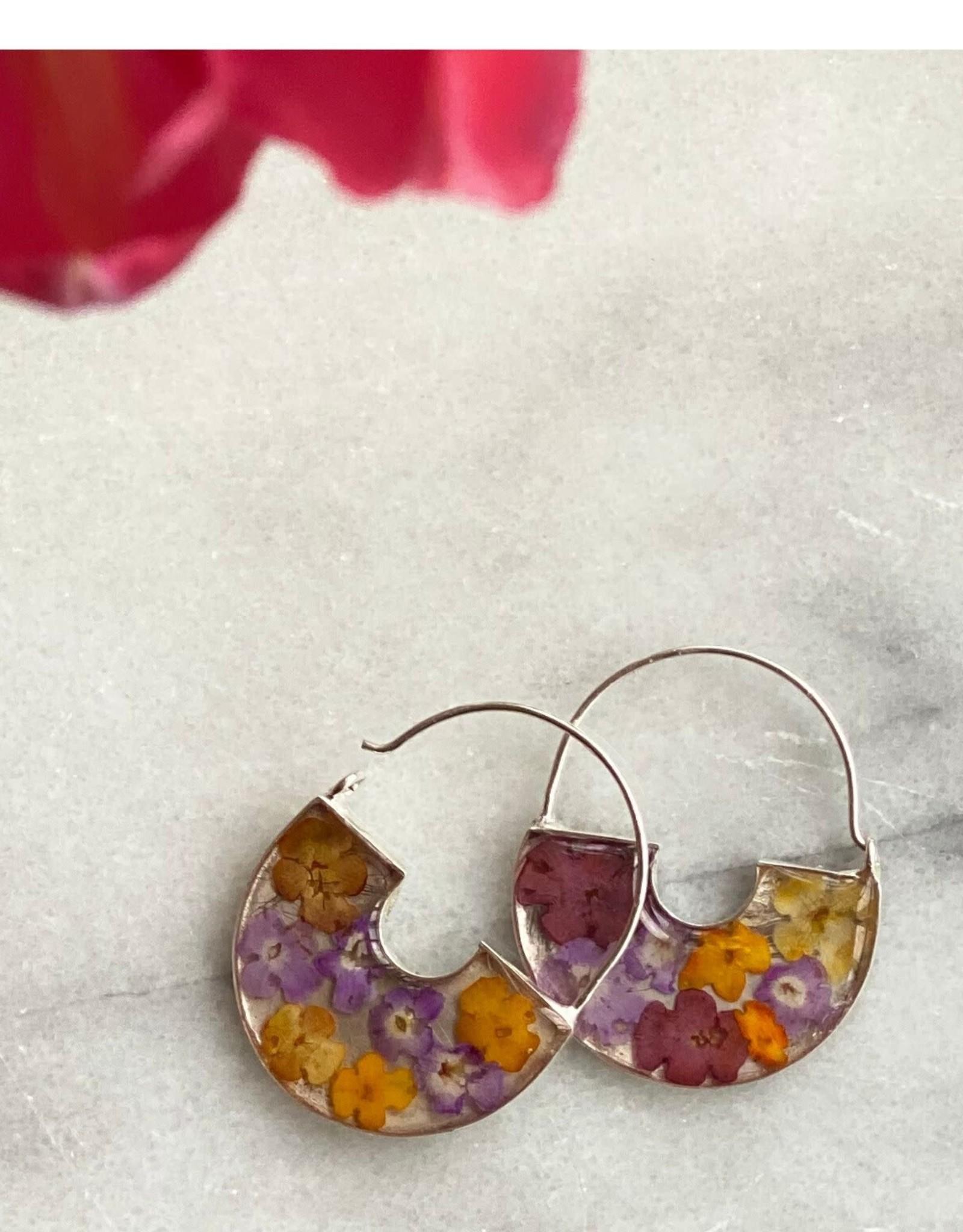 Flowers in Resin Basket Hoop Earrings
