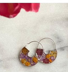 Flowers in Resin Basket Hoop Earrings