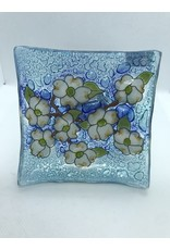 Blown Glass Dish, Dog Wood Flowers, Ecuador