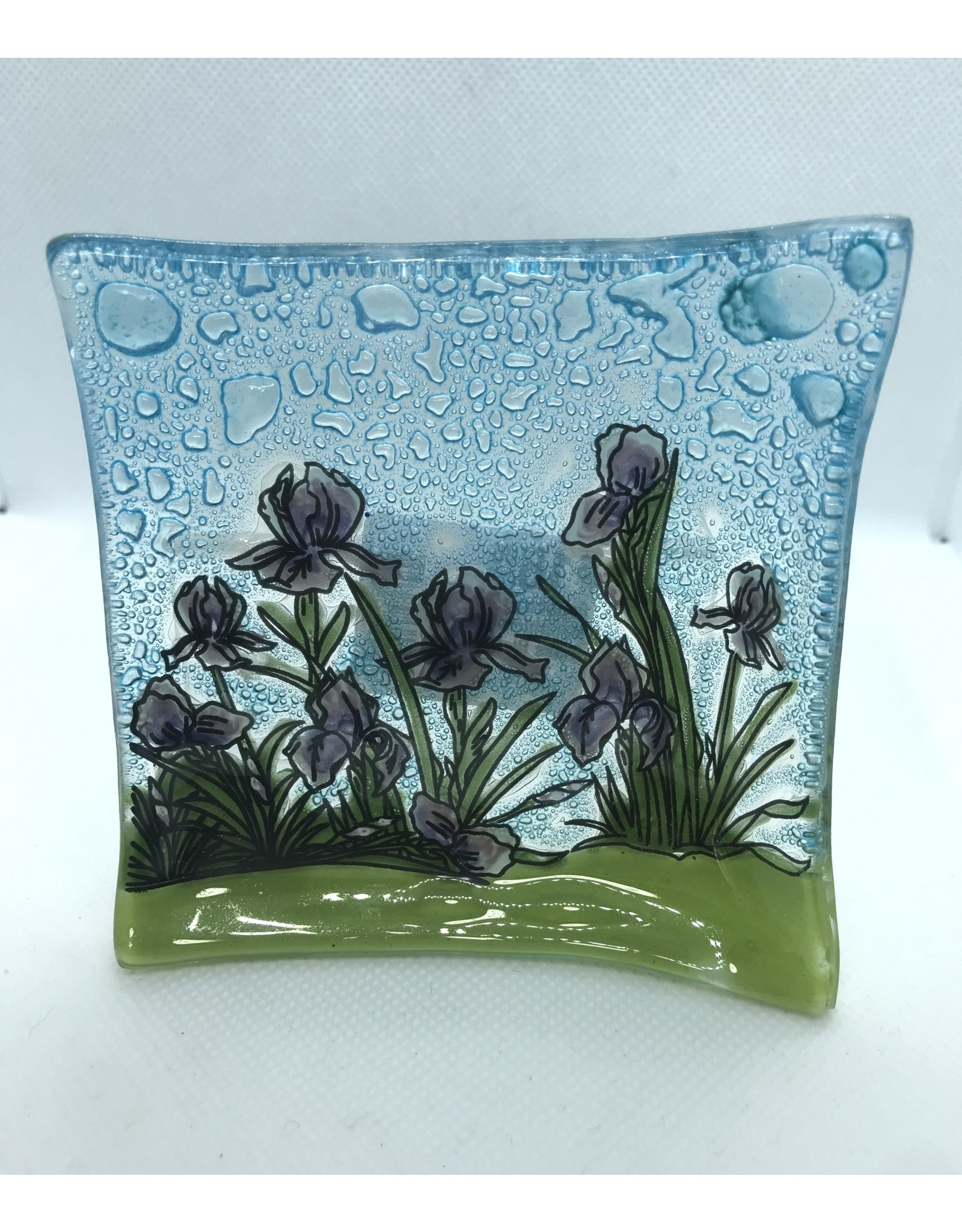 Handblown Small Glass Plate Iris, Ecuador