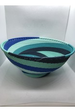 Large Round Telephone Wire  Bowl w/ Base,  African Ocean