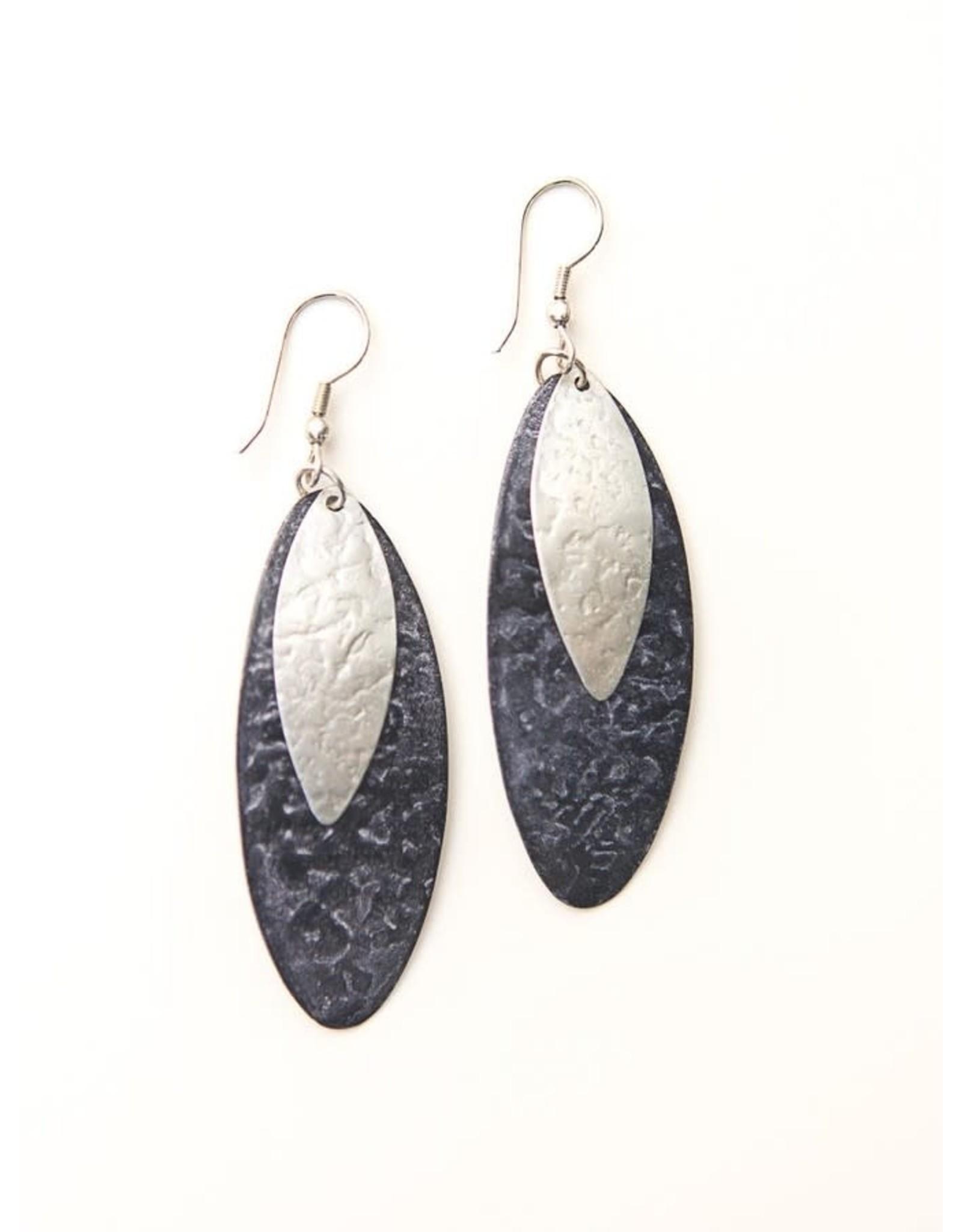 Oblong Leaf Earrings Purple, India