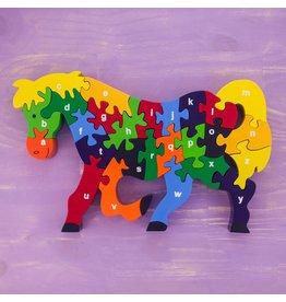 Wooden Alphabet  Puzzle Horse, Sri Lanka