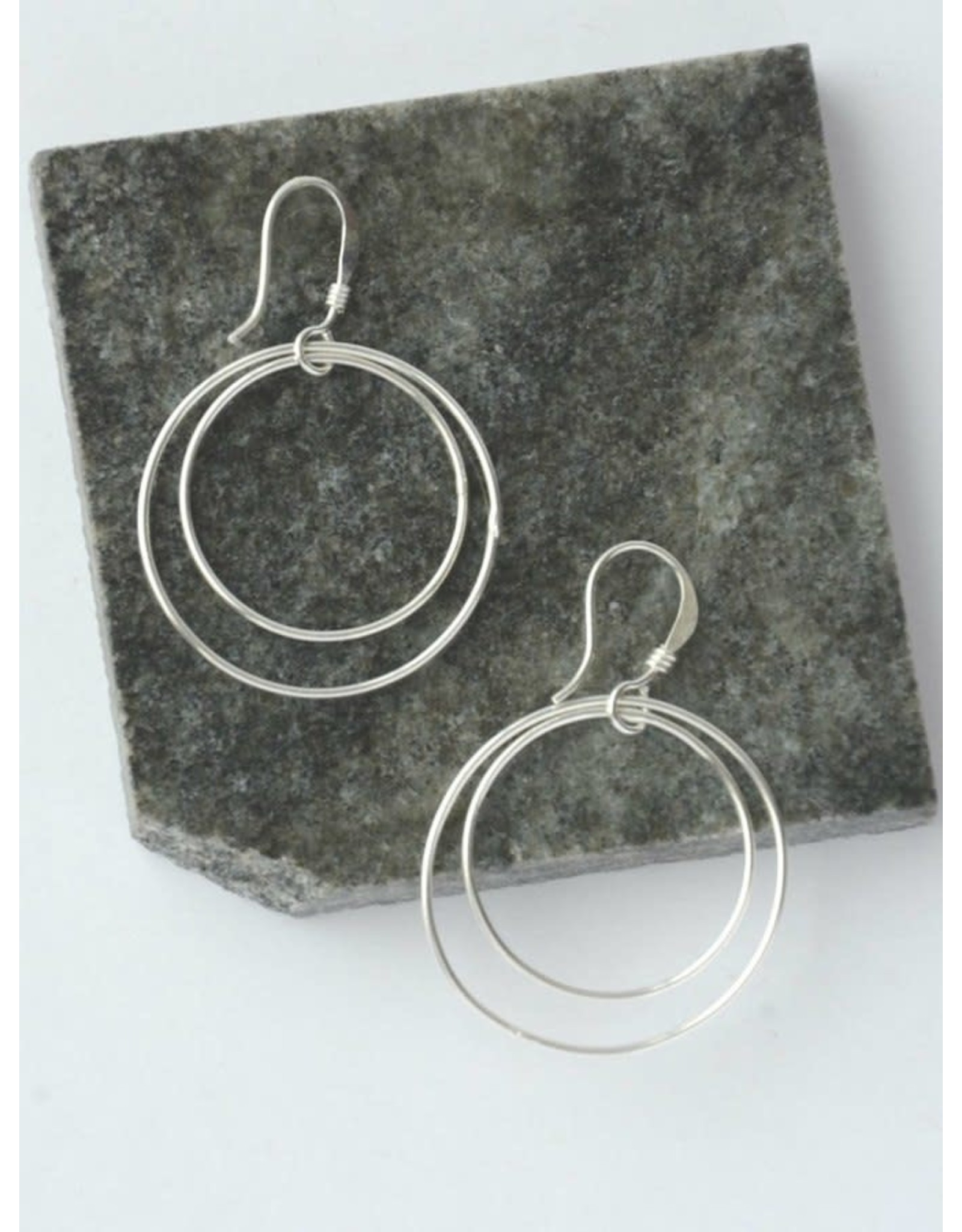 Double Moon Earrings Silver