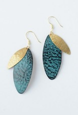 Oblong Leaf Earrings Teal