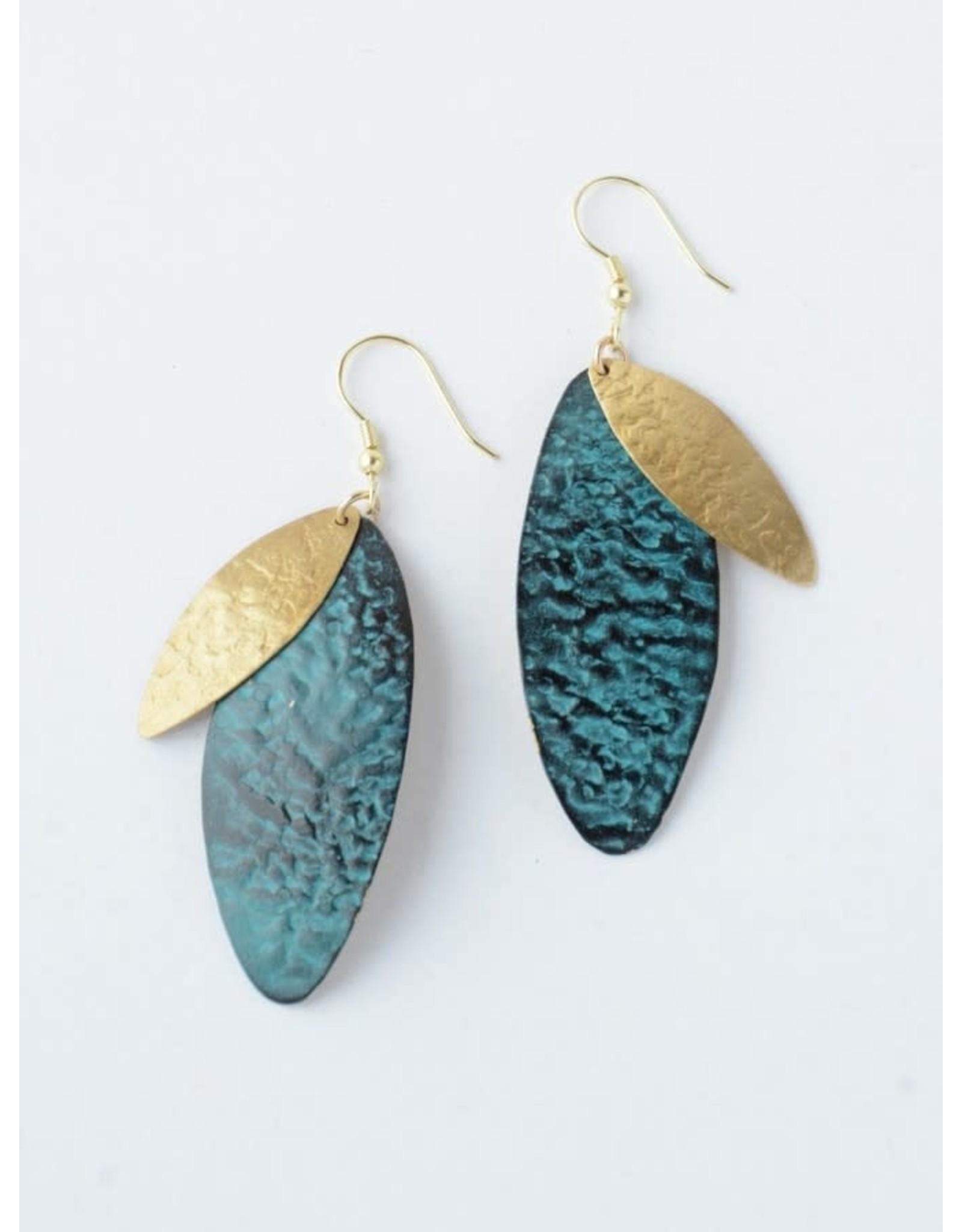 Oblong Leaf Earrings Teal, India