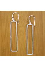 Sterling Framed Rectangle Earrings