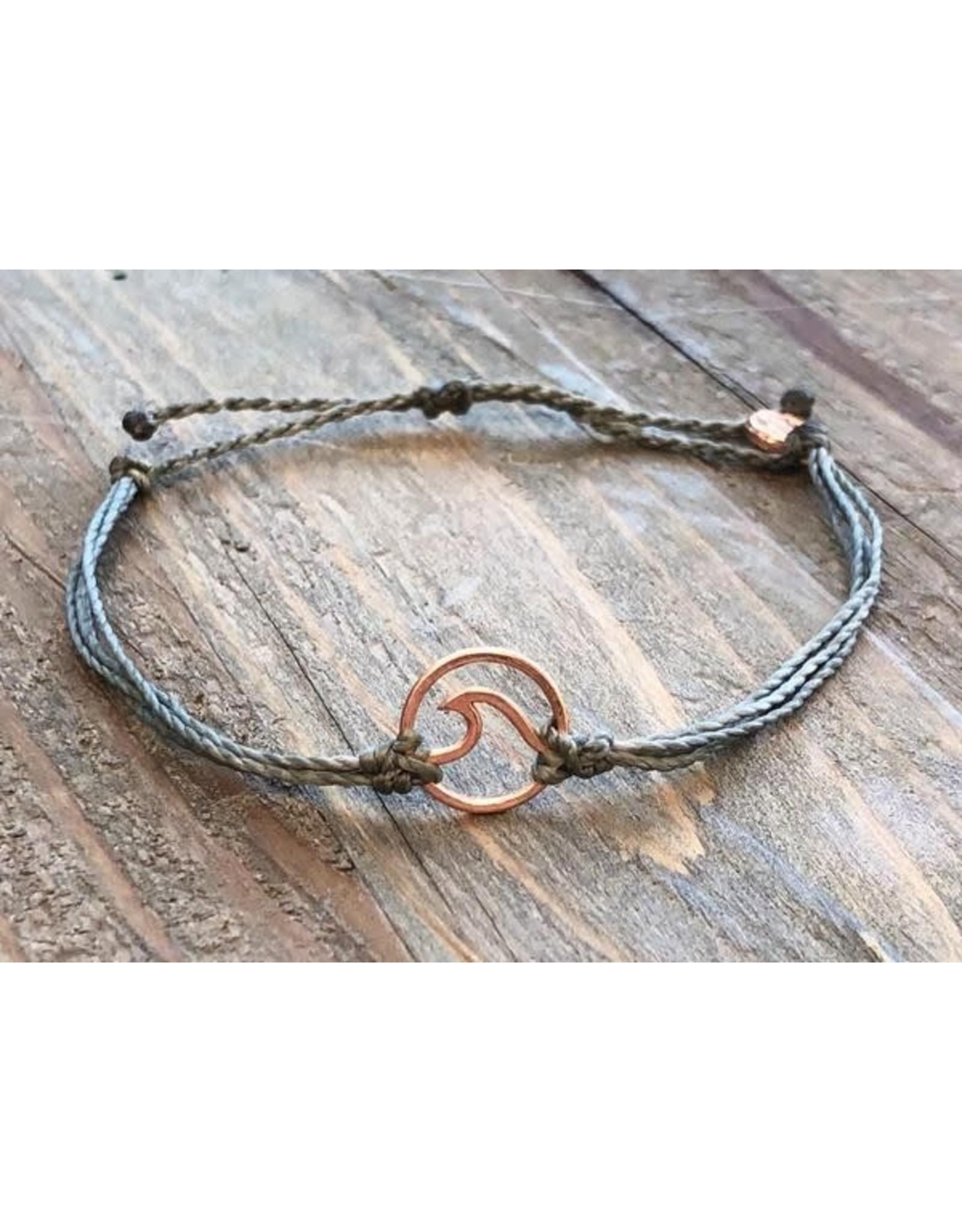 Pura Vida, Rose Gold Wave Bracelet, Gray