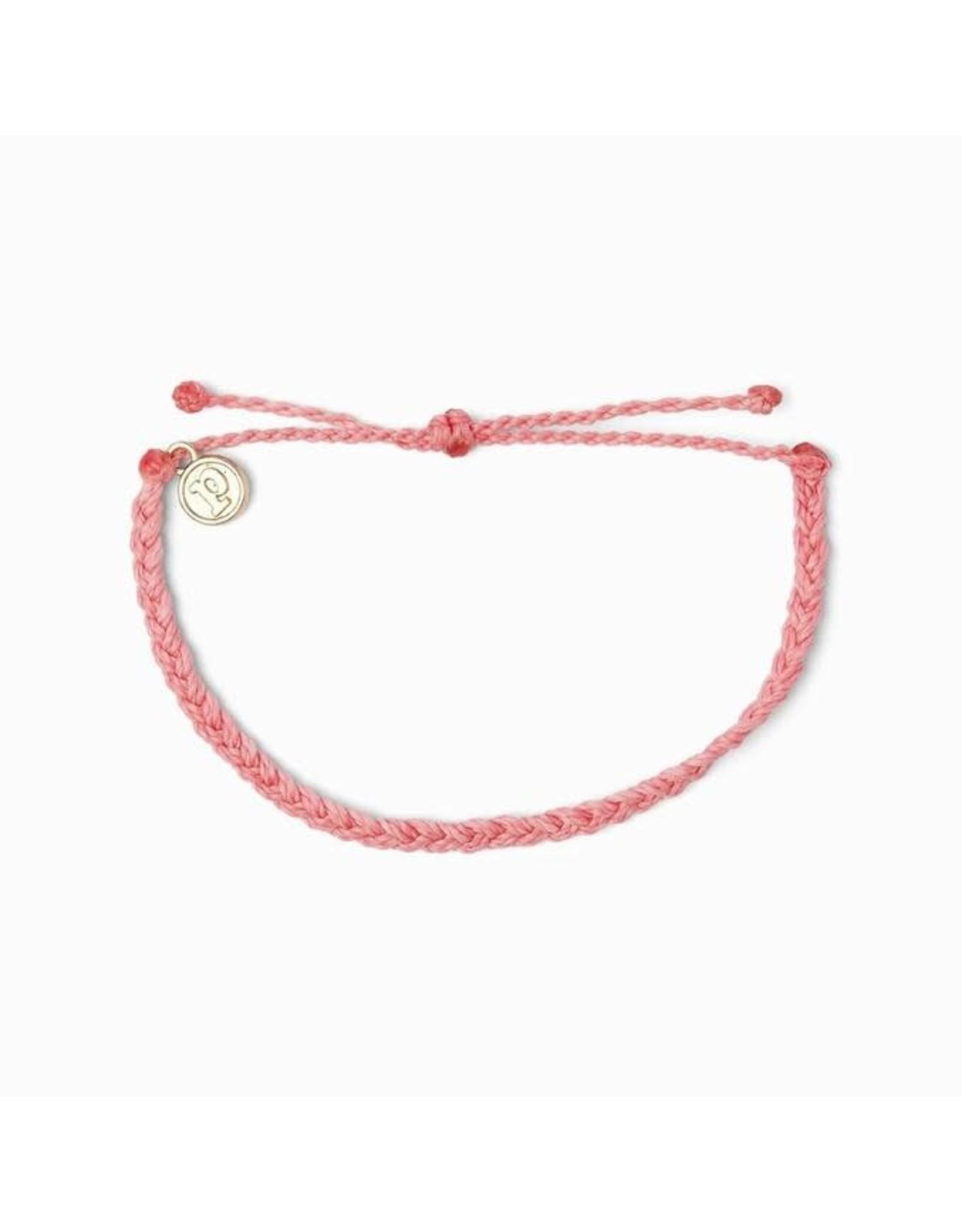 Pura Vida, Mini Braided Solid Bracelet, Strawberry