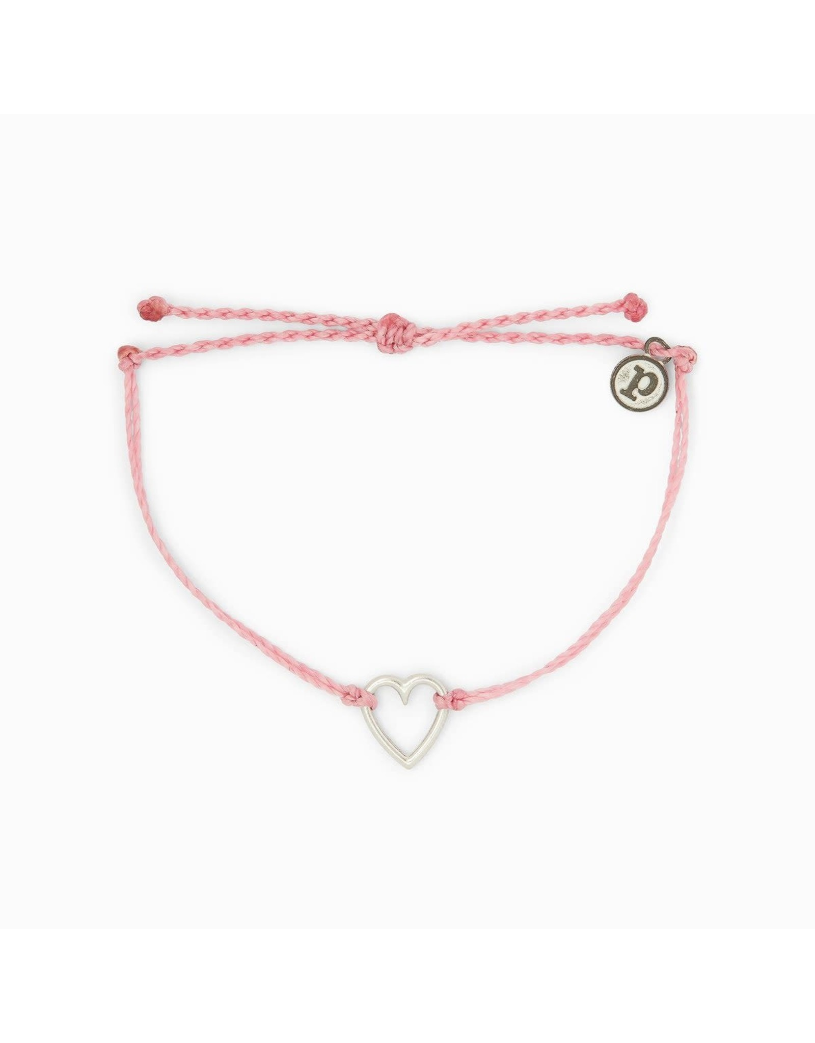 SILVER OPEN HEART Bracelet,  PINK