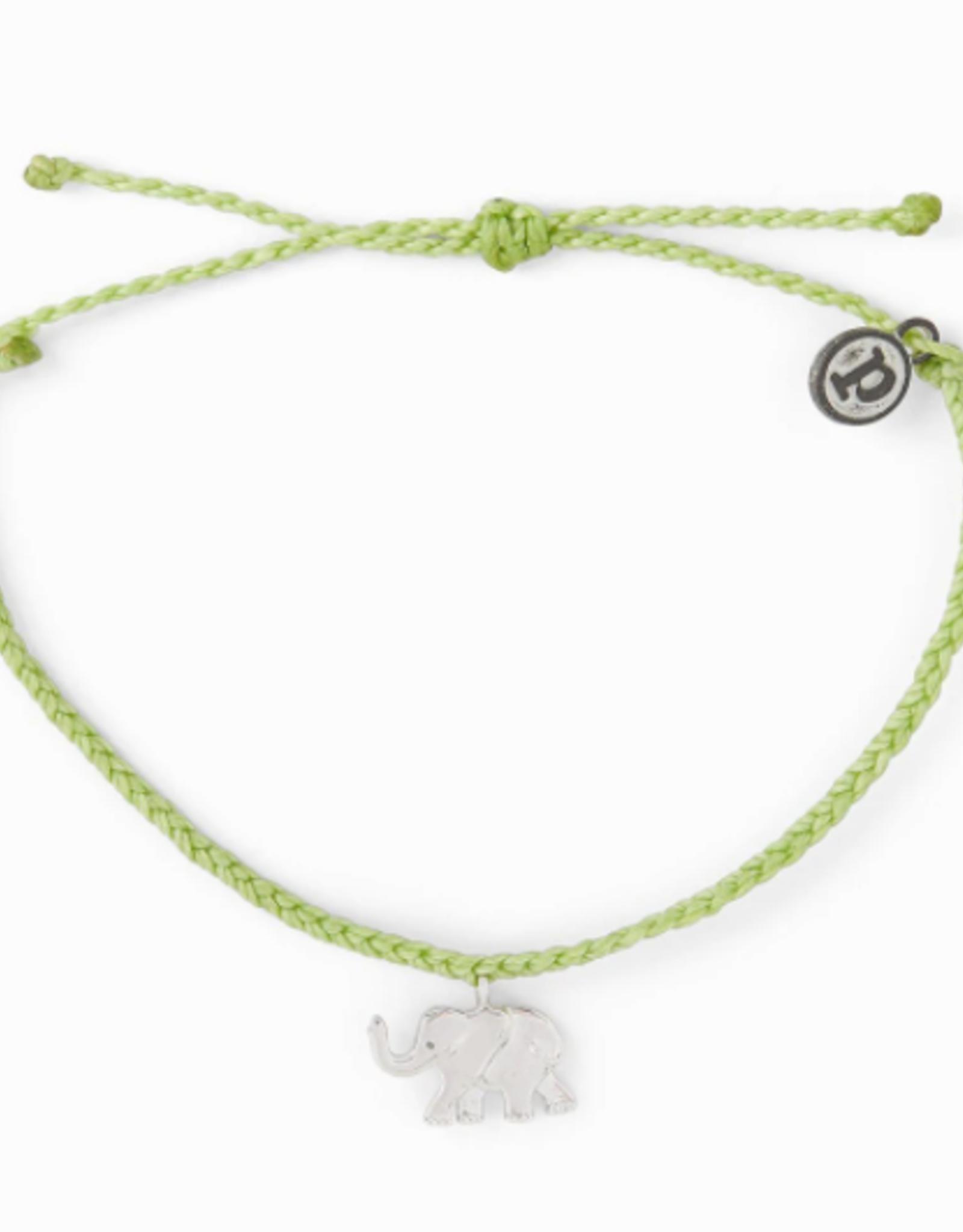 SILVER ELEPHANT Bracelet,  LIGHT GREEN